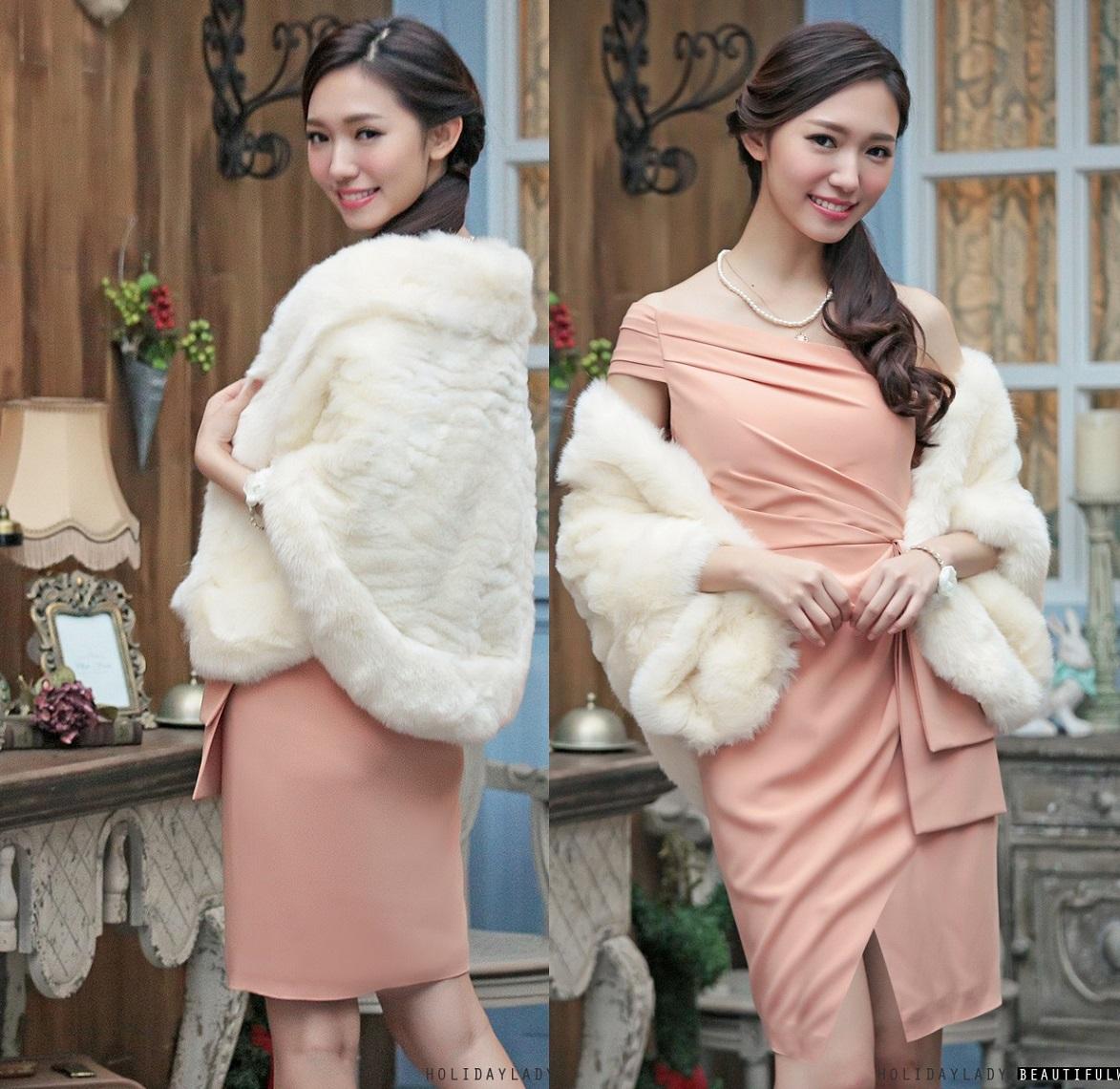 629cf21e97d3b パーティドレス 成人式 暖かい 上品 フェイクファー ショール風ボレロ ...